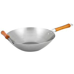 Ken Hom Excellence Carbon Steel Uncoated Wok, 14 in.